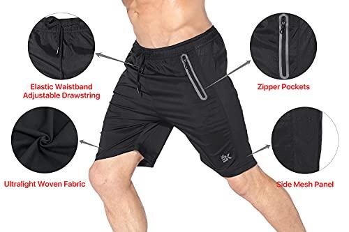 Brokig Sidemesh - Pantalones cortos de entrenamiento de secado rápido para hombre con bolsillos con cremallera, ligero y casual para gimnasio, Pantalones cortos para correr., M, gris