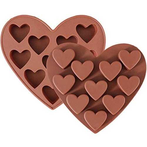 Kinter siliconen vorm met harten - 10 hartjes, bakvorm voor muffins brownies cupcake enorme ijsblokjes, muffinvorm Valentijnsdag liefde bruiloft cake muffincups chocolade zeep