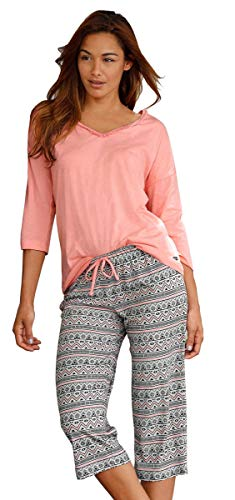 Buffalo Damen Pyjama 3/4 lang (Rose, 32/34 (XS))