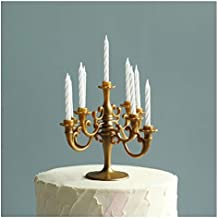 CheeseandU Mini Plastic Candle Holder Stand with 7Pcs Candelabra Taper Beautiful Vintage Candlestick Cake Topper Desk Orna...