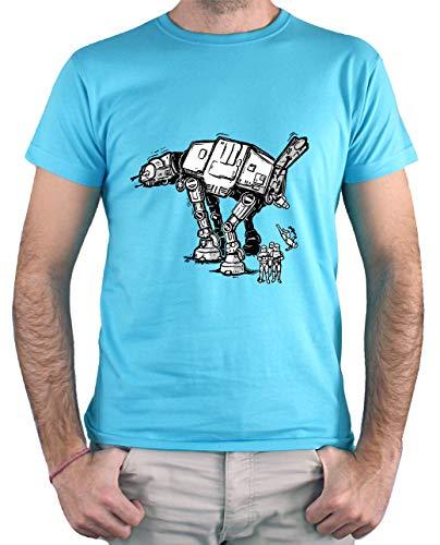 Camiseta Hombre - Unisex AT AT, Star Wars (Turquesa, XXL)