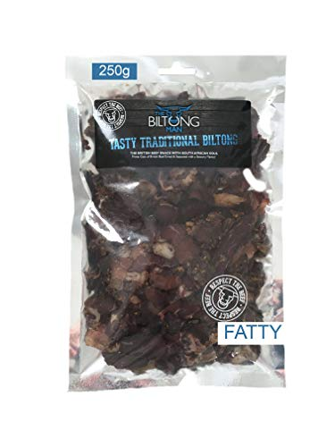 250g Biltong Fatty, Tasty Traditional Beef Biltong, High Protein South African Food, Gluten Free, Low Sugar, Natural Protein, Healthy Snack, Full of Essential Amino Acids, by The Biltong Man