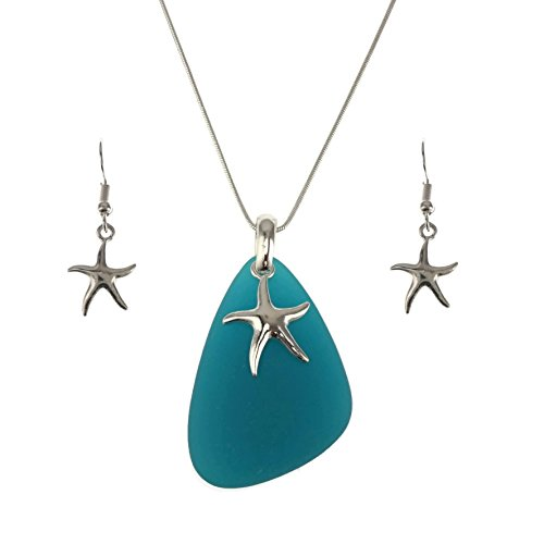 Jucicle Blue Sea Glass Pendant Long Necklace 27' and Earrings Set (Starfish - Sea Blue)