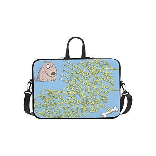Puppy Bone Maze Game Children Hand Briefcase Laptop Bag Messenger Shoulder Work Bag Crossbody Handbag for Business Travelling