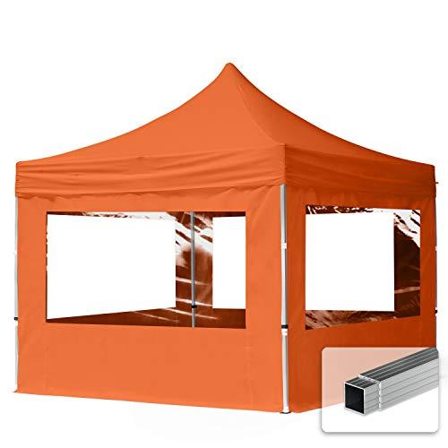 TOOLPORT Faltpavillon Faltzelt 3x3m - 4 Seitenteile ALU Pavillon Partyzelt apfelsine Dach 100{693afbcb54654f470afeecff1aa7f7d1fdf5d840e26fc3661a532eb5f98a0d27} WASSERDICHT