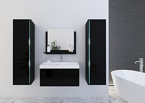Home Direct Jenny 3 Modernes Badezimmer Bademöbel Badeschränke (Schwarz MAT Base/Schwarz HG Front, LED weiß)