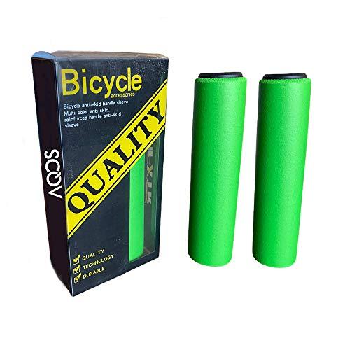 AQOS Puños Bicicleta, 2 Unidades, montaña, MTB, Silicona, Grips, Mangos, Manguitos, empuñaduras, Manillar, Bici, Mountain Bike, Ciclismo, Paseo, Espuma, ergonomicos, BMX, Universal (Verde)