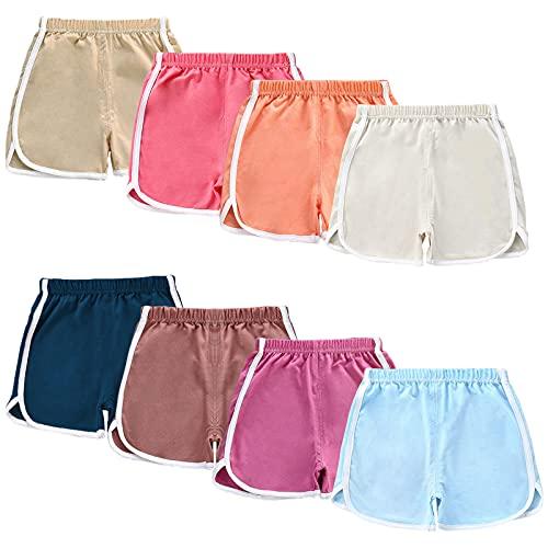 NEWITIN 8 Pack Girl Active Shorts Running Shorts Kids Baby Beach Sport Shorts 120cm