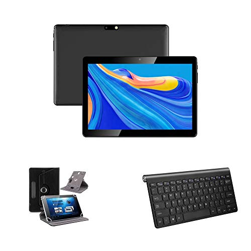 Android 10 Tablet (4G) Bundle (Case and Bluetooth Keyboard) with Full HD 10.1' Screen (Black)