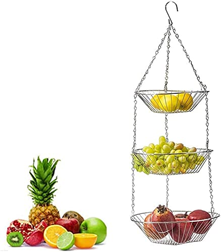 GDFEH Bread Baskets 3 Tier Hanging Fruit Basket, Fruit Basket, Fruit Holder Bathroom Kitchen Storage For Kitchen Counter Cabinet And Pantry