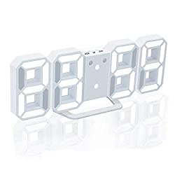 Evangel LED Digital Alarm Clock for Desk/Shelf/Tabletop, Modern Home Decoration 3D Wall Clock, Easy to Read at Night, Loud Alarm and Snooze, Big Digit Display (White Frame, White Light)