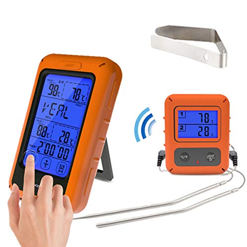 MASUNN Ts-Tp20 Remote Draadloos Touch Screen Voedsel Dubbele Temperatuur Probe Digitale Thermometer Groot Scherm Met Timer Digitaal Vlees Bbq Oven Thermometer