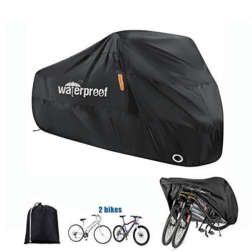Orgrul Bike Covers for Outside Storage, 210D Nylon Waterproof Bike Cover for 2 Bikes for Mountain/Road/Kids Bike