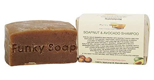 Funky Soap 1 Pieza Soapnut y Aguacate Aceite Barra de Champú 100% Natural Artesanal, 1 Barrita de 120g