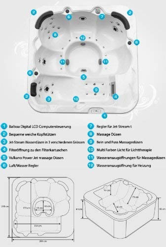 Outdoor Whirlpool Hot Tub Venedig Farbe weiß mit 44 Massage Düsen + Heizung + Ozon Desinfektion + LED Beleuchtung für 5 – 6 Personen für für Garten / Terasse / Außen - 7