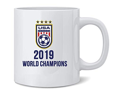 N\A USA Soccer 2019 World Champions 4 Times Stars Taza de café de cerámica Taza de té Regalo Divertido y novedoso 11 oz