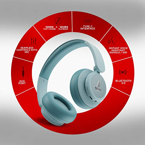 boAt Rockerz 450 Pro On-Ear Headphones with 70 Hours Battery, 40mm Drivers, Bluetooth V5.0 Padded Ear Cushions, Easy Access Controls and Voice Assistant(Aqua Blue)