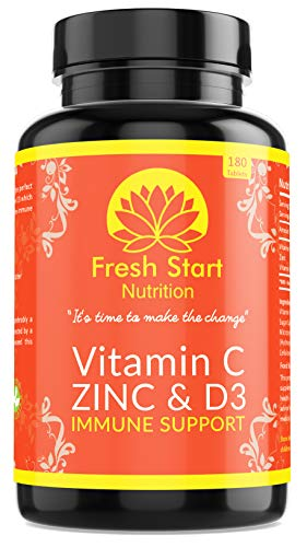 Vitamin C Zinc and Vitamin D Tablets - 180 Vegetarian Tablets for Men and Women - for Maintenance of Normal Immune System - 6 Month Supply - Made in The UK by Fresh Start Nutrition