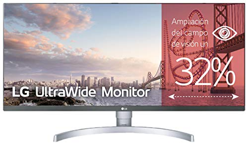 LG 34WK650-W - Monitor Profesional UltraWide FHD de 86,6 cm (34') con Panel IPS (2560 x 1080 píxeles, 21:9, 300 cd/m², sRGB 99%, 1000:1, 5 ms, 75 Hz) Color Blanco y Plata
