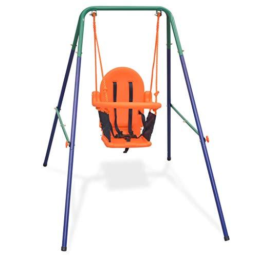 vidaXL Columpio Pata Bebés con Arnés de Seguridad Juguete para Niños Pequeños Parque Infantil de Acero y Plástico Naranja