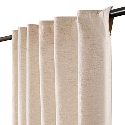 Linen Cotton Tab Top Curtains, Farmhouse Cotton/Linen Curtains, Curtain 2 Panel Set -50x108 Natural Curtains, Reverse Window Panels, Curtain Drapes Panels, Bedroom Curtains, Linen 40%,Cotton 60%