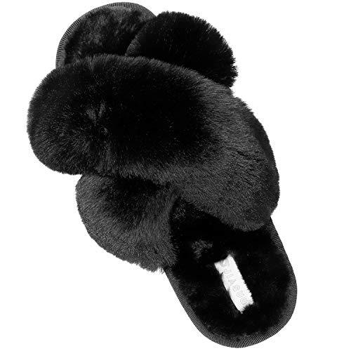 JIASUQI Cross Open Toe Fuzzy Fluffy House Slippers for Women Cozy Memory Foam Plush Criss Cross Furry Slides Slippers Black 8-9