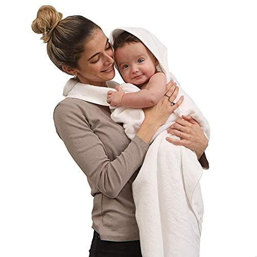 SIMPLY GOOD. Delantal de Toalla para bebés y bebés recién Nacidos Toalla de baño y paño de baño de bebé con Capucha y Manos Libres 100% algodón para niño y niña (Pearl)