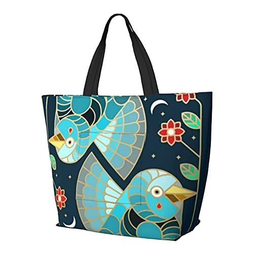 Hermosa bolsa de hombro Art Deco Midnight Bluebirds and Flows, multifuncional, de gran capacidad, para tableta, ligera, bolsa de trabajo, bolsa de viaje, bolsa de playa para mujer