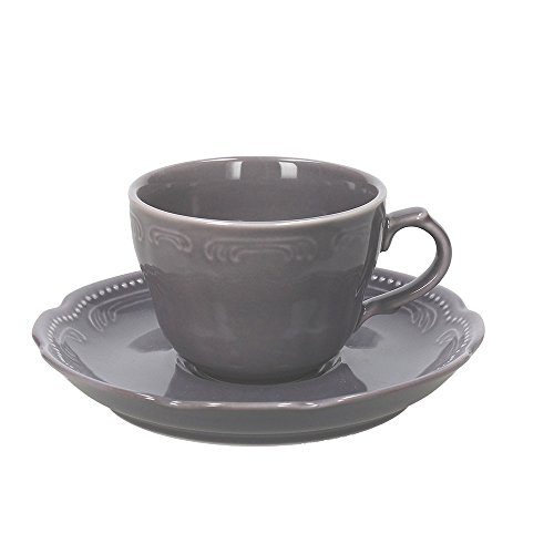 Tognana Charme Confezione 4 Tazze da tè con Piattini, Porcellana, Grigio