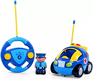 Haktoys My First RC Cartoon Police Car with Music Button and LED Headlights   Safe and Durable   Learning to Drive, Great Gift Justice Team Action Radio Control Toy for Toddlers, Kids, Boys and Girls