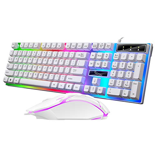 BenRan Wired Gaming Keyboard Rainbow Backlit Mechanical Keyboard Mouse Combo, LED 104 Keys USB Ergonomic Wrist Rest Keyboard, Mouse for PC Gamer(White)