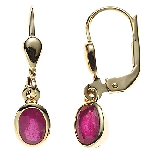JOBO Damen-Ohrhänger aus 585 Gold mit Rubin Oval