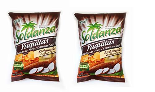 SOLDANZA Yuquitas - Hojuelas de Yuca Cassava Chips 45 gr. - Pack of 2.