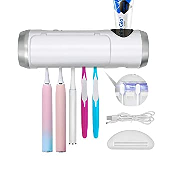 Toothbrush Holder with Toothbrushes Clean Function and Light Wall Mounted Organizer for Bathroom with Built-in Fan 5 Toothbrush Slots with Cover Toothpaste Organizer White.