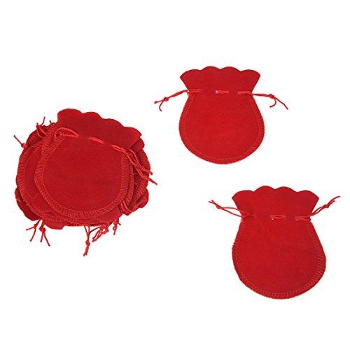 YeBetter - Juego de 20 pendientes ovalados de terciopelo rojo para regalo de boda, bolsa de regalo