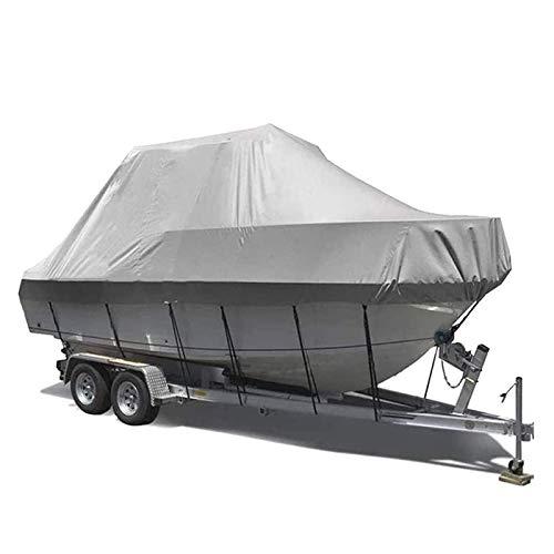 QETUOA Cubierta para Barcos De Alta Resistencia 600D, PVC Impermeable Tela Oxford Revestimiento Cubierta Adecuada Casco En Forma V, Yates Kayak con Protección UV (14-16FT-V,Gris)