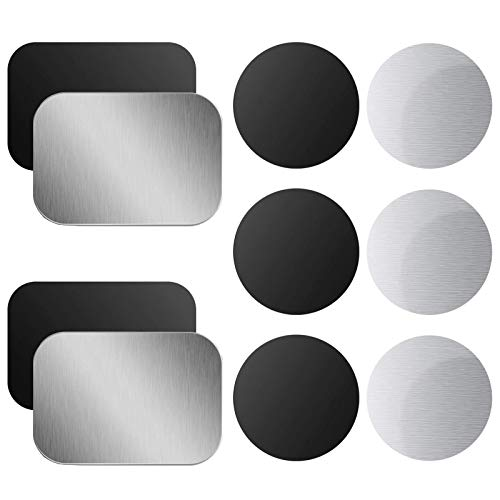 ANXEN Mount Metal Plate for Phone Magnet Car Mount Holder Cradle with Adhesive, Universal Replacement Sticker Compatible with Magnetic Mounts - 10 Pack Black and Silver (4 Rectangle and 6 Round)