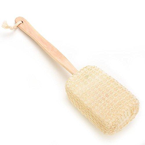 Takestop - Esponja para ducha con mango de madera, 36 cm, para baño, masaje, lufa, relajante, exfoliante, scrub scrubber, spa, cuerpo, limpieza esfolia