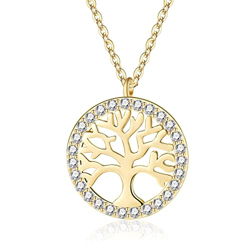 Jrêveinfini Colgante Collar Mujer Plata de Ley 925 con Colgante árbol de la Vida, Mujer Collares Collar árbol de la Vida, Collar oro