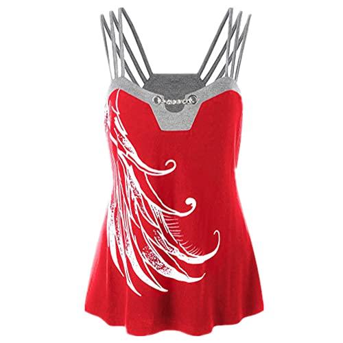 Camisola Mujer Moda Sexy Verano Cuello V Mujer Tops Exquisito De Patrón Diseño Mujer T-Shirts Ocio Diario Vacaciones Cómodas All-Match Mujer Blusa B-Red 3XL