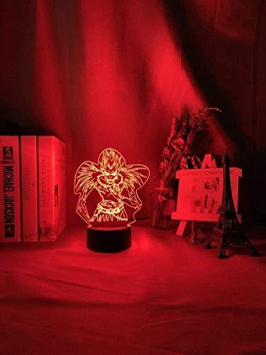 DXJA HCDZF 3D anime noche luz muerte nota niños noche luz led color cambiante noche para decoración de la habitación manga japonesa regalo 3D ilusión lámpara Ryuk figura