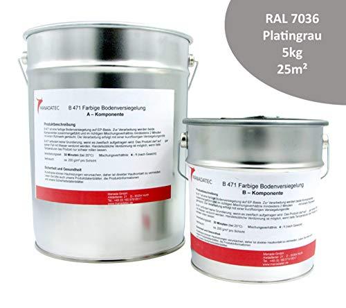 5KG 25m² viele RAL Farben 2K Epoxidharz BodenfarbeBodenbeschichtung Bodenversiegelung Betonfarbe Garagenbodenbeschichtung Fußbodenfarbe (RAL 7036 Platingrau)