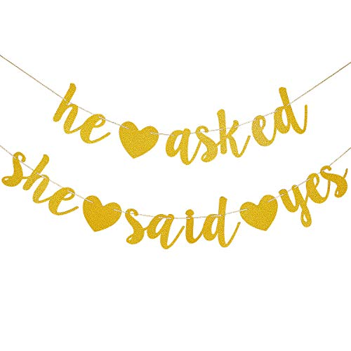 Gold Glitter He Asked She Said Yes Banner - Engagement Wedding Bachelorette Bridal Shower Party Decorations Supplies