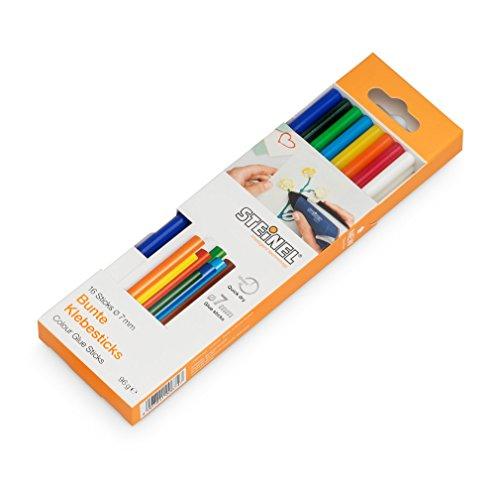 Steinel Colour Klebesticks 7 mm, 16 farbige Sticks, 96 g, bunter Schmelzkleber für kratives Basteln und Schmücken, 006969