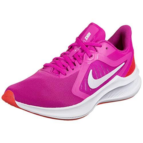 Nike WMNS Downshifter 10 - Bota para bicicleta (6,5 cm), color rosa y blanco