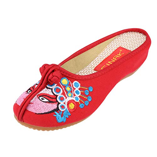 CINAK Embroidered Shoes- Backless Slipper Mule Flats Shoes Comfortable Loafer Embroidery Slip on Magenta