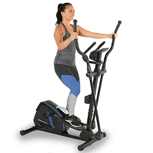 Exerpeutic Magnetic Flywheel Elliptical Trainer Machine for Home Gym with Natural Elliptical Motion, Bluetooth MyCloudFitness Tracking and Pulse Rate Grips, Black Blue