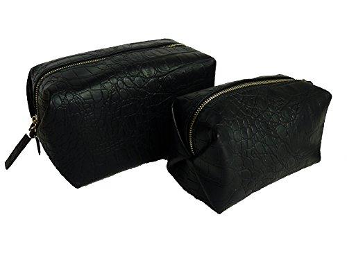 TCM Tchibo 2 x Edle Kosmetiktaschen Kulturtasche Schminktasche Tasche schwarz