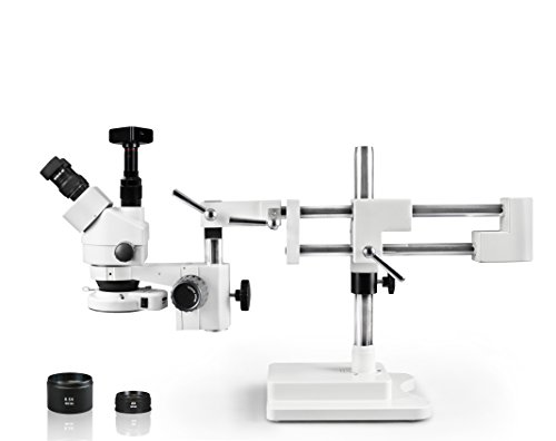 Vision Scientific Simul-Focal Trinocular Zoom Stereo Microscope, 10x Widefield Eyepiece, 0.7X—4.5X Zoom Range, 7X—45x Magnification Range, Double Arm Boom Stand 16MP Digital Camera
