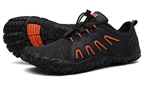 Voovix Herren Trekkingschuhe Damen Wanderschuhe Barfußschuhe Laufschuhe Traillaufschuhe Knit Sneaker Fitnessschuhe im Sommer Schwarz Orange46